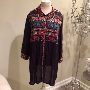 Johnny Was Flare Embroidered Shirt